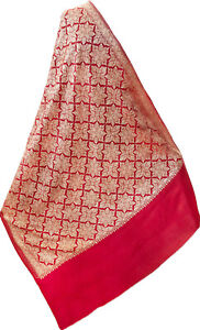 """Large Red Wool Shawl Pashmina Dense Embroidery in Gold Floral Paisely 80""""x40"""""""