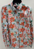 J CREW Linen Shirt Floral Button Up Long Sleeve Size Large  Blue Orange