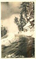 Big Bear Lake California Winter Scene 1940s RPPC Photo Postcard 8921