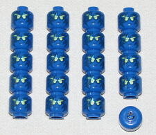LEGO LOT OF 20 NEW BLUE NINJAGO NRG JAY MINIFIGURE HEADS PIECES