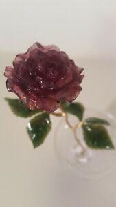 18K Gold Stem w/Large Pink Tourmaline Rose with Jade Leaves in Crystal vase