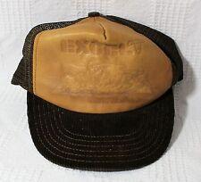 Excel Dodge City Kansas Trucker Hat Corduroy Bill Tan Leather Front