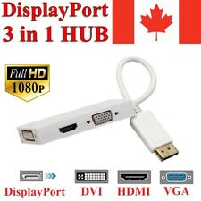 3 in 1 Display Port to HDMI VGA DVI Adapter Converter Thunderbolt DP for MacBook