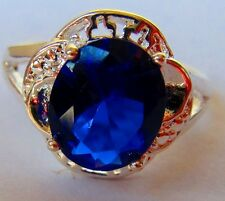 Argentium 925 Sterling Silver Ring Sz 7+ Blue Topaz CZ Gem Stone Halo Fretwork