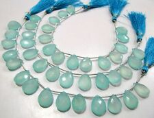 Natural Aqua Chalcedony 12x16mm Pear Shape Faceted Gemstone Briolette Beads