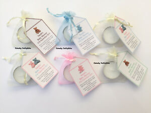 20 Baby Shower DIY Organza bag, Candle & Personalised Tag Favours FREE P&P