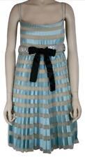 GORGEOUS VALENTINO BLUE SILK COCKTAIL DRESS, SILVER CRYSTAL BELT, SIZE 6, $7000
