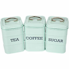 Tea Coffee Sugar Canisters Vintage Blue Enamel Kitchen Storage Jars Pots Retro