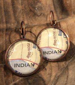 Alaska Indian Valley Bird Ridge Creek Gird Wood Copper Map Glass earrings