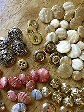 Vintage Button Lot - Metal - Gold Tone - Crests - Eagles - Stars - 206 Total