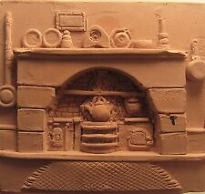 Bernard Pearson hand carved terracotta/clay plaque fireplace hearth scene