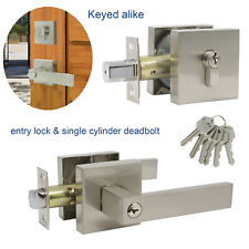 Exterior Front Entry Door Handle Lock Set Square Keyed alike Single Deadbolt