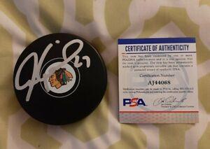 Jeremy Roenick signed Chicago Blackhawks NHL hockey puck PSA COA #AJ44068