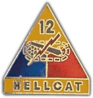 ARMY 12TH ARMORED DIVISION HELLCAT  MILITARY PIN
