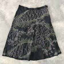 French Connection Beaded Tropical Floral Knee Length Black Flowy Skirt Size 4