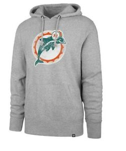 Miami Dolphins Men's Throwback Legacy Logo Pullover Hoody Sweatshirt - Gray