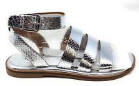 Franco Sarto Womens L-Kyson Gladiator Flat Sandals Silver Snake Size 7.5 M US