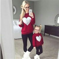 Family Matching Clothes Autumn Christmas Mother Daughter Sweatshirt Cotton Mommy