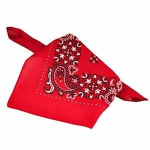 Red, White & Black Paisley Patterned Bandana Neckerchief - 100% Cotton Square