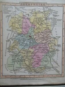 Small Georgian County Map Shropshire Map (c1824) Hand Coloured , England Border