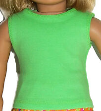 """LIME GREEN COTTON PIQUE TANK TOP - Doll Clothes - fits 18"""" American Girl Dolls"""