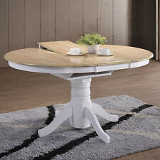 Large Extending Dining Table Farmhouse Oak Round Solid Wood Rustic Pedestal Room
