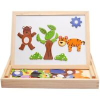 Kids Educational Wooden Magnetic Drawing Board Plants Animal Jigsaw Puzzle Toys