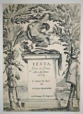 Frontispice FESTA FATTA IN ROMA Francois Collignon GRAVURE Andrea Sacchi 1634