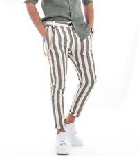 Pantalone Lino Uomo Rigato Lungo Verde Bianco Tasca America GIOSAL