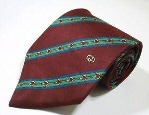 Vintage Gucci Striped Link Pattern Red Color Silk Classic Necktie Tie