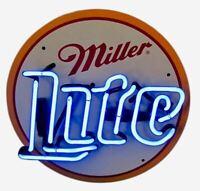 """VINTAGE NEON LIGHT SIGN MILLER LITE BEER BAR NASCAR METAL BUD BUDWEISER 12""""X12"""""""