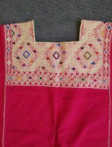 Vintage Handwoven Oaxacan Huipil. Vibrant colors, beautiful detail.