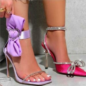 Women Silk Butterfly-Knot Patchwork High Heel shoes Ankle Strap Wedding shoes