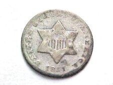 1851 O Three Cent Silver Piece..XF Grade...scarce O mint 3cs