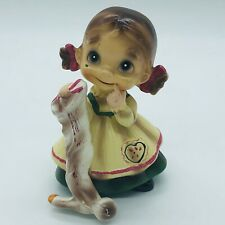 JOSEF ORIGINAL WEE FOLKS FIGURINE GIRL WITH SOCK CERAMIC VINTAGE 4.5""