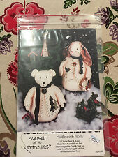 """Mistletoe & Holly Pattern Caught up in Stitches 12"""" Standing Polar Bear & Bunny"""