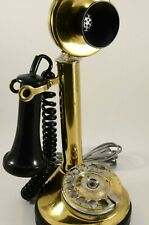 Vintage Candlestick Telephone Rotary Dial Brass Retro Phone