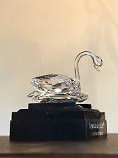 Crystal Swan on Display Mirror in a Display Box