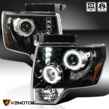 [Jet Black] 2009-2014 Ford F150 Halo+LED DRL Projector Headlights Left+Right