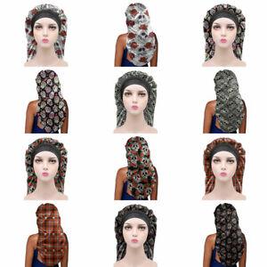 Skull Design Womens Bonnet Sleep for Long Hair Day Night Sleeping Hat Satin Cap