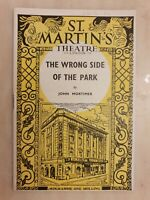 THEATRE PROGRAMME THE WRONG SIDE OF THE PARK MARGARET LEIGHTON RICHARD JOHNSON