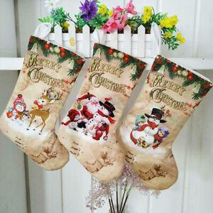 Merry Christmas Stocking Large Santa Elk Candy Gift Bag Xmas Tree Hanging W