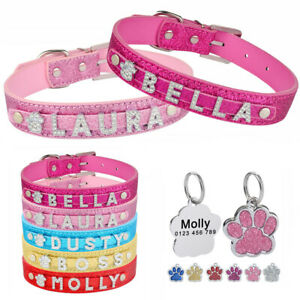 Bling Leather Dog Collar Personalized Adjustable Custom Engraved Puppy Name Tag