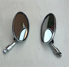 2PCS Retro oval modified coffee short handle plating rearview mirror large field