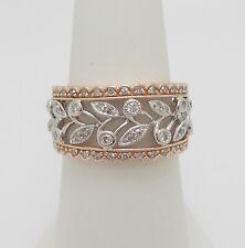 1/3CT Diamond Anniversary Flower Band Ring 14K Rose and White Gold