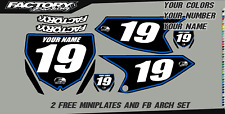 Yamaha YZ 65 18-19 Pre Printed Number plate Backgrounds  PLAIN BLK BG PINBLU
