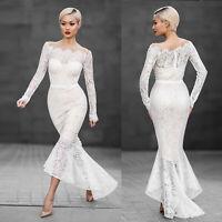 Spitze Langarm Brautkleid Hochzeitskleid Kleid Abendkleid Ballkleid Mermaid B717