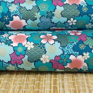 Made In Japan Turquoise Gold Sakura Cotton Fabric Fat Quarter Quilting FQ #0174