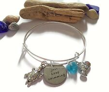"""Finding Nemo themed tag """"just keep swimming"""" silver charm bangle DORY gift UK"""