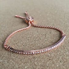 Customizable Rose Gold Clear Stone Pave Slider Bracelet Drawstring Tightening
